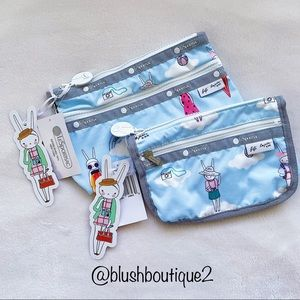 NWT Lesportsac X Fifi Lapin Cosmetic Bag Bundle